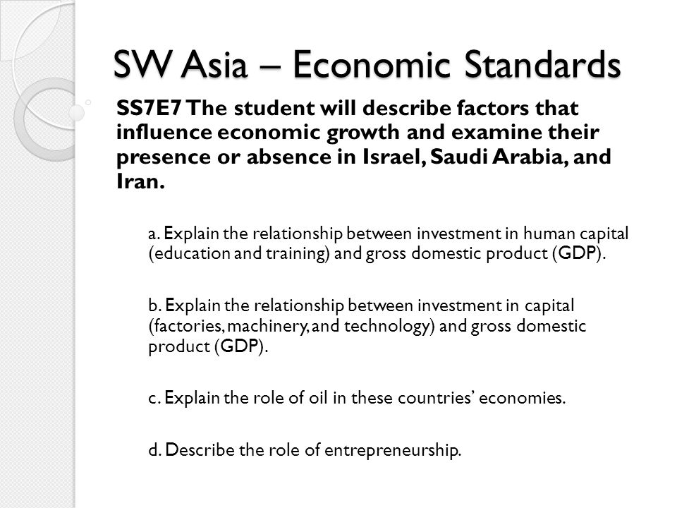 SW Asia – History Standards SS7H2 The student will analyze continuity and change in Southwest Asia (Middle East) leading to the 21st century.