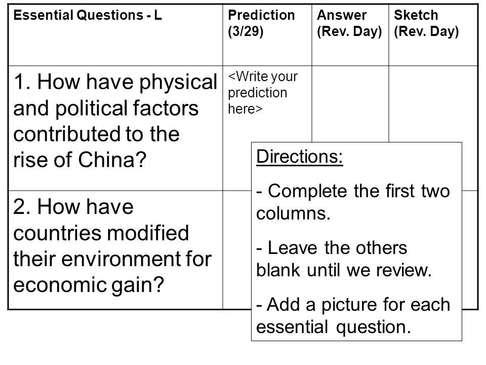 Essential Questions - LPrediction (3/29) Answer (Rev. Day) Sketch (Rev. Day) 1. How have physical and political factors contributed to the rise of Chi