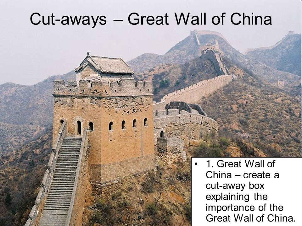 Cut-aways – Great Wall of China 1. Great Wall of China – create a cut-away box explaining the importance of the Great Wall of China.