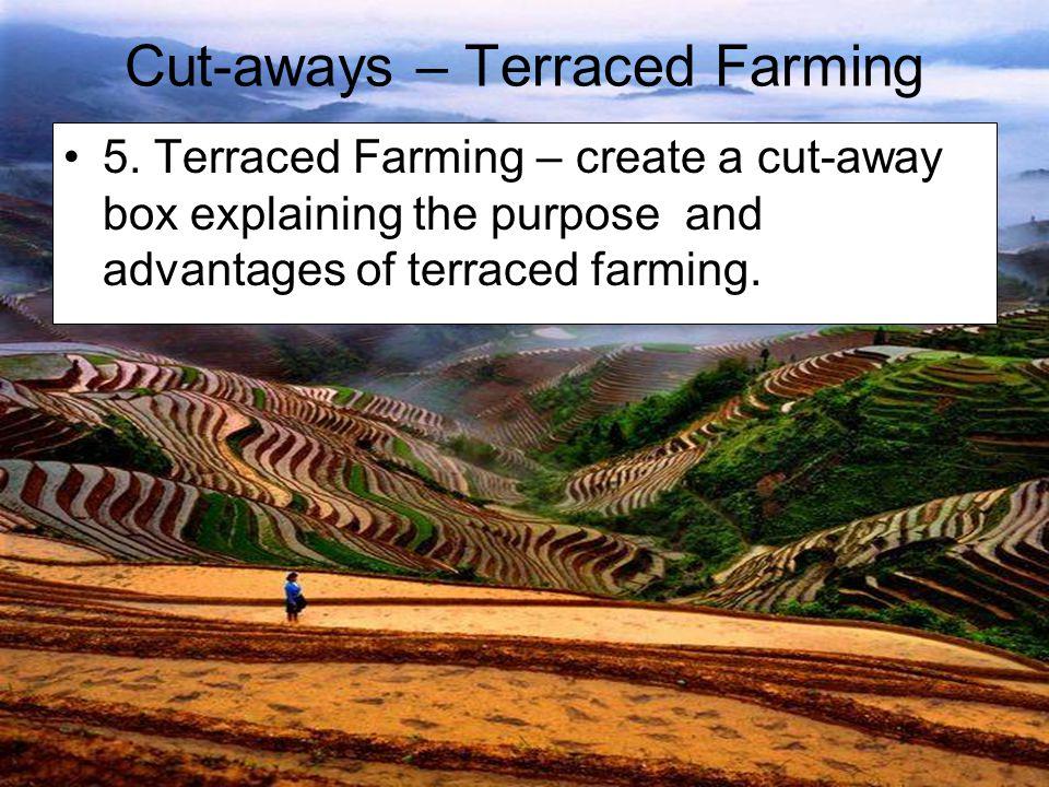 Cut-aways – Terraced Farming 5. Terraced Farming – create a cut-away box explaining the purpose and advantages of terraced farming.