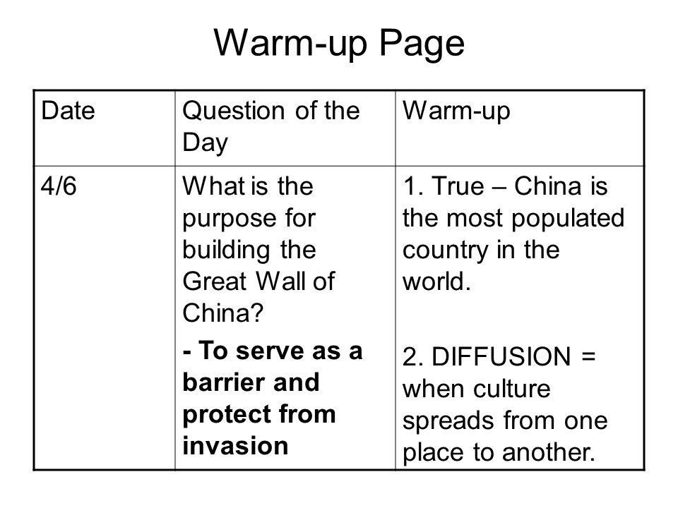 Warm-up Page DateQuestion of the Day Warm-up 4/6What is the purpose for building the Great Wall of China? - To serve as a barrier and protect from inv