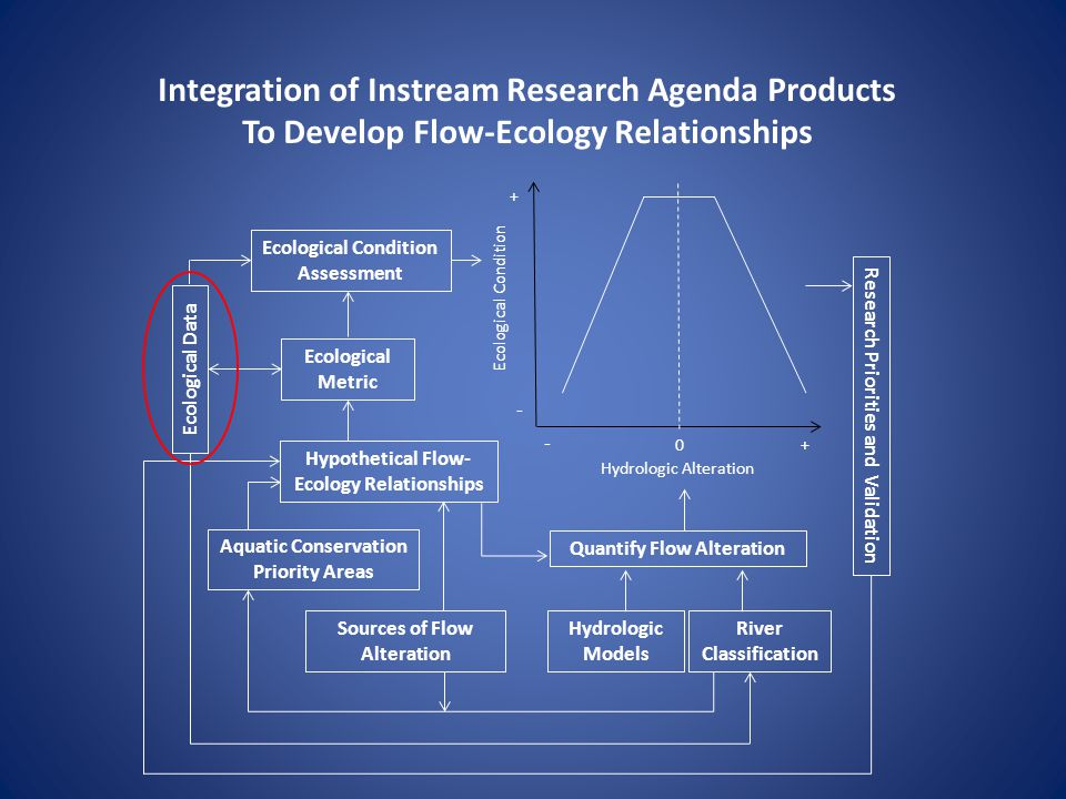 Integration of Instream Research Agenda Products To Develop Flow-Ecology Relationships Ecological Condition Hydrologic Alteration Hydrologic Models Ecological Condition Assessment Aquatic Conservation Priority Areas Sources of Flow Alteration River Classification Hypothetical Flow- Ecology Relationships Quantify Flow Alteration Ecological Metric Research Priorities and Validation Ecological Data