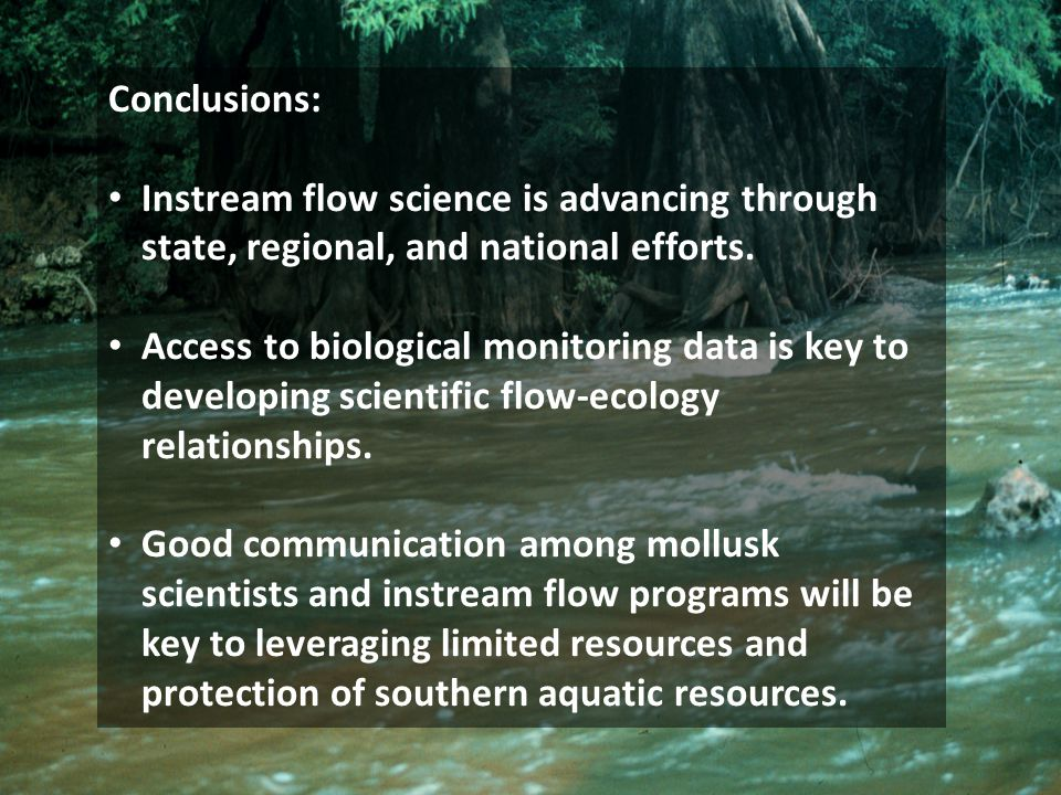 Conclusions: Instream flow science is advancing through state, regional, and national efforts.