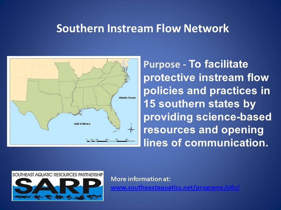 Southern State Approaches for Determining IF Standards Minimum flow threshold – 7Q10 (e.g., AL, LA, MS) – Modified Tennant (e.g., AR, GA, SC) Statistically based standards (e.g., FL St Johns WMD, Potomac River Commission) Percent of flow approaches (e.g., FL SW Florida and Suwannee River WMDs, TN Presumptive WQ Standard)