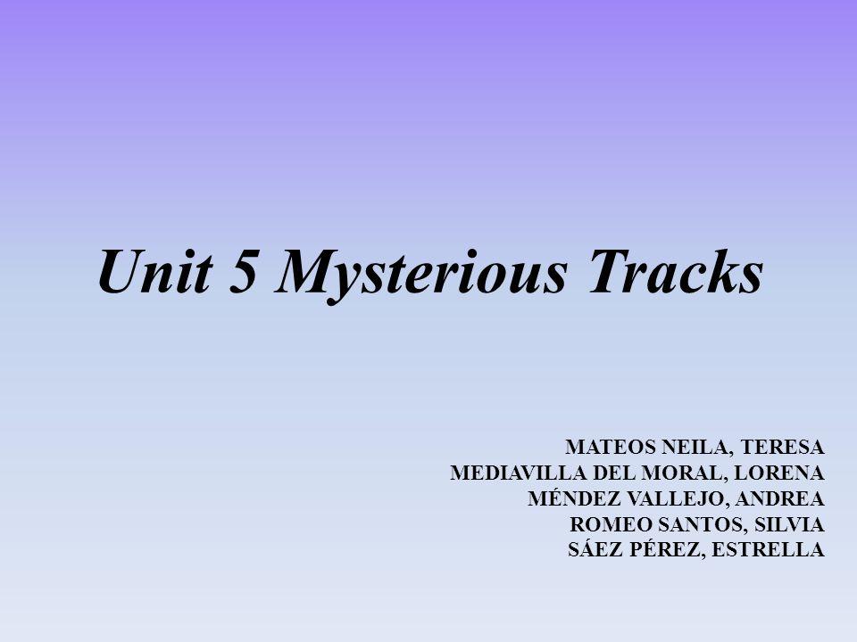 Unit 5 Mysterious Tracks MATEOS NEILA, TERESA MEDIAVILLA DEL MORAL, LORENA MÉNDEZ VALLEJO, ANDREA ROMEO SANTOS, SILVIA SÁEZ PÉREZ, ESTRELLA