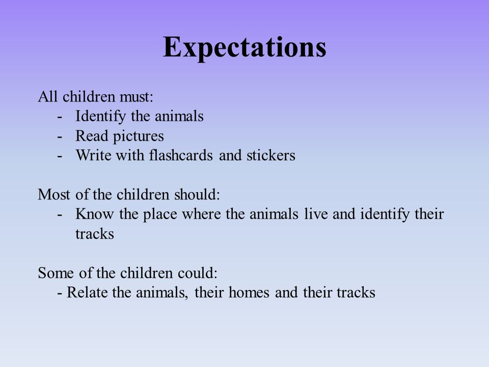 Expectations All children must: -Identify the animals -Read pictures -Write with flashcards and stickers Most of the children should: -Know the place where the animals live and identify their tracks Some of the children could: - Relate the animals, their homes and their tracks