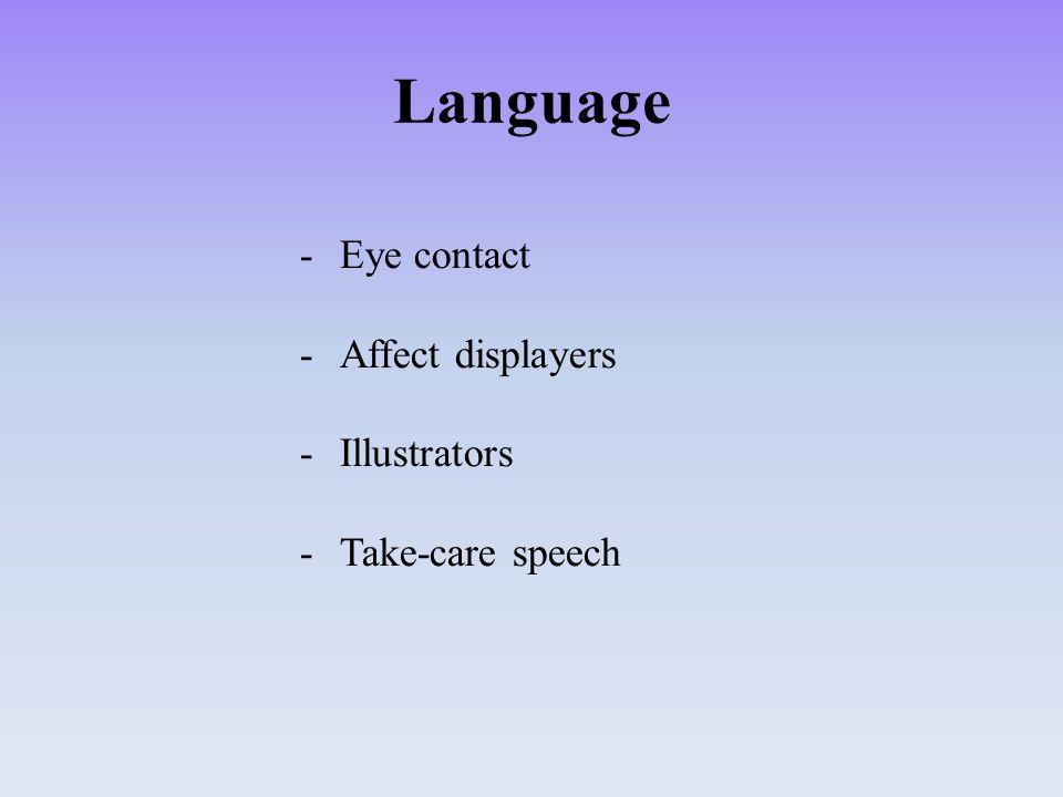 Language -Eye contact -Affect displayers -Illustrators -Take-care speech
