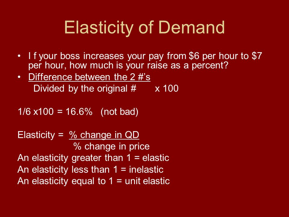 Elasticity of Demand I f your boss increases your pay from $6 per hour to $7 per hour, how much is your raise as a percent? Difference between the 2 #