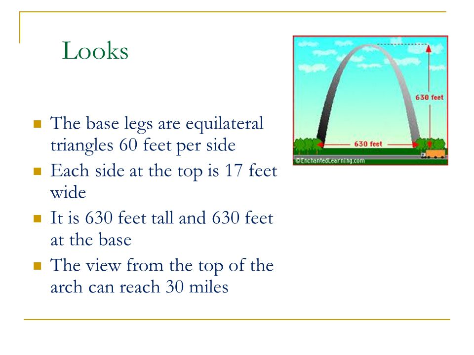Looks The base legs are equilateral triangles 60 feet per side Each side at the top is 17 feet wide It is 630 feet tall and 630 feet at the base The view from the top of the arch can reach 30 miles