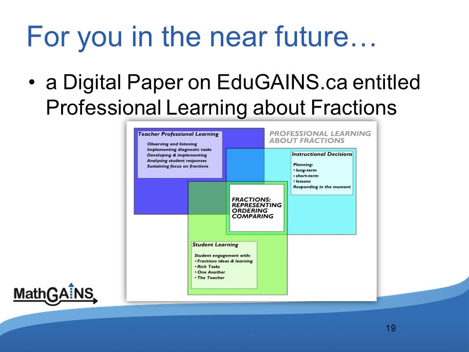 For you in the near future… a Digital Paper on EduGAINS.ca entitled Professional Learning about Fractions 19