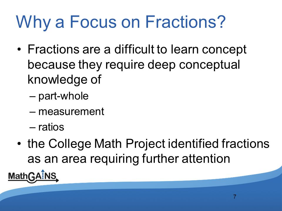Why a Focus on Fractions.