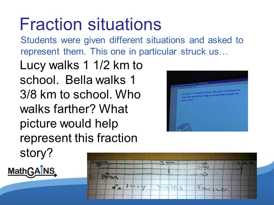 Fraction situations Students were given different situations and asked to represent them. This one in particular struck us… Lucy walks 1 1/2 km to sch