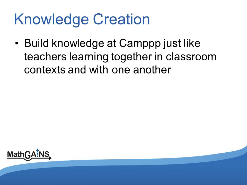 Knowledge Creation Build knowledge at Camppp just like teachers learning together in classroom contexts and with one another