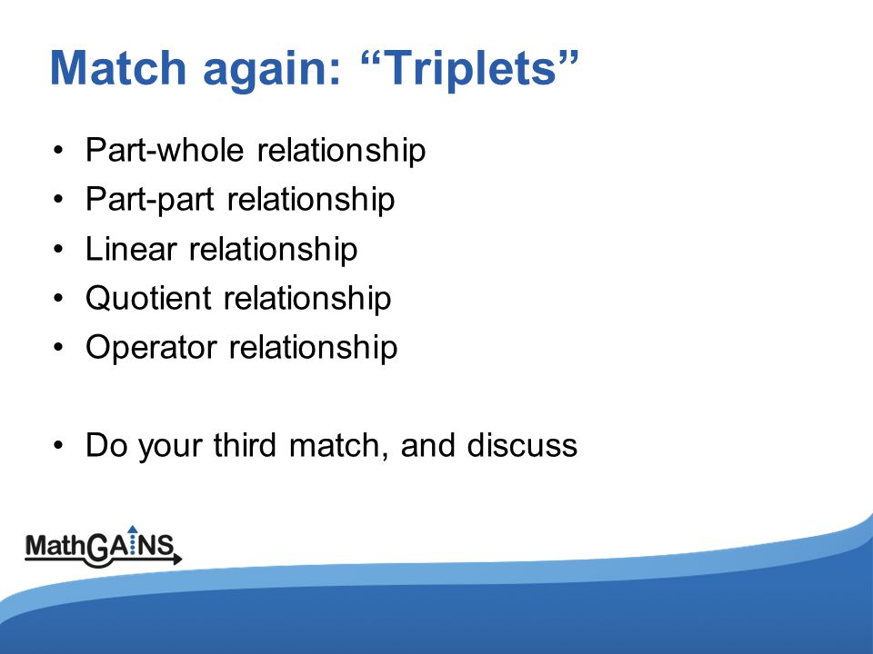 Match again: Triplets Part-whole relationship Part-part relationship Linear relationship Quotient relationship Operator relationship Do your third match, and discuss