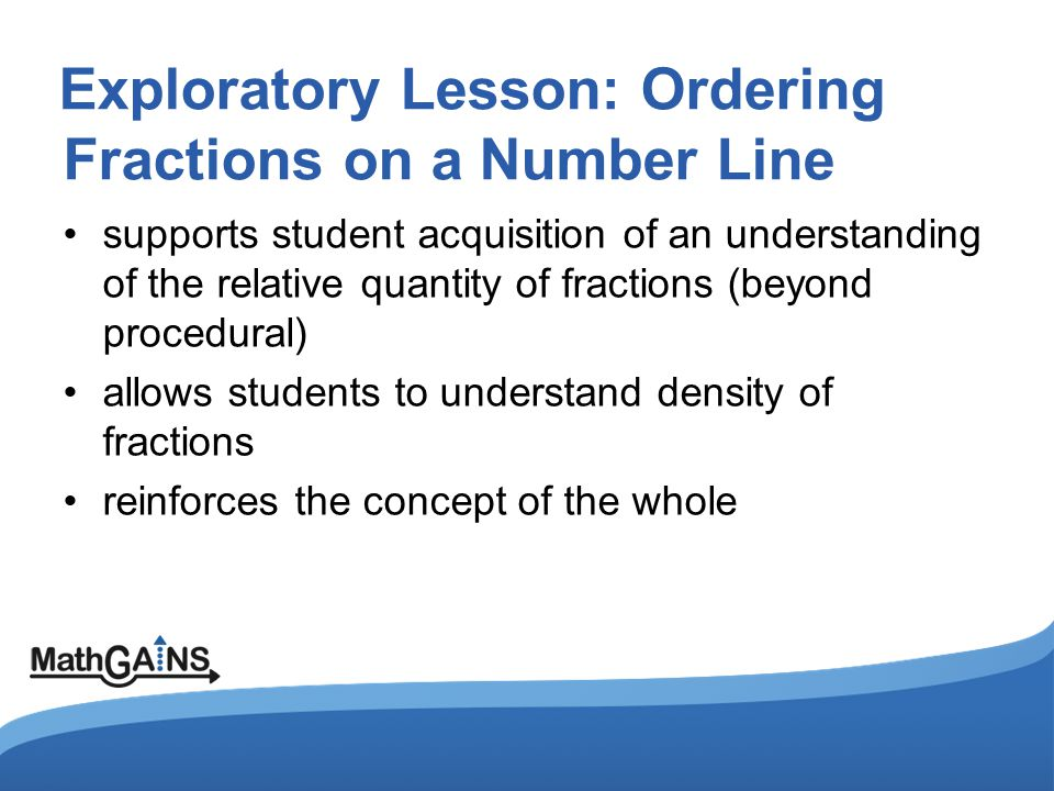 Exploratory Lesson: Ordering Fractions on a Number Line supports student acquisition of an understanding of the relative quantity of fractions (beyond