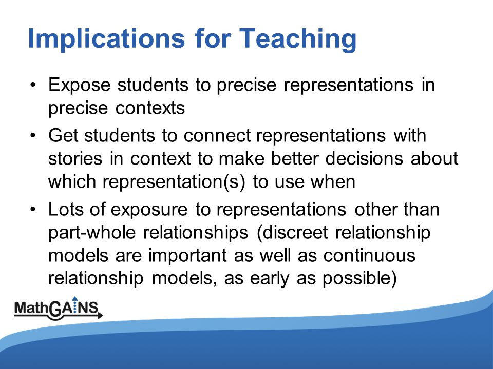 Implications for Teaching Expose students to precise representations in precise contexts Get students to connect representations with stories in context to make better decisions about which representation(s) to use when Lots of exposure to representations other than part-whole relationships (discreet relationship models are important as well as continuous relationship models, as early as possible)