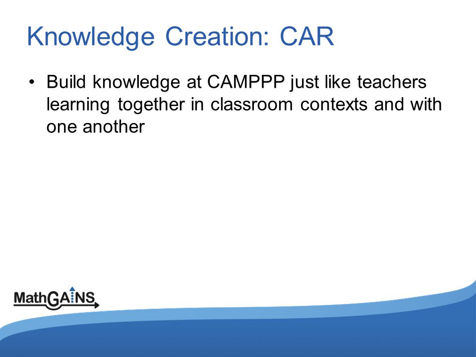 Knowledge Creation: CAR Build knowledge at CAMPPP just like teachers learning together in classroom contexts and with one another