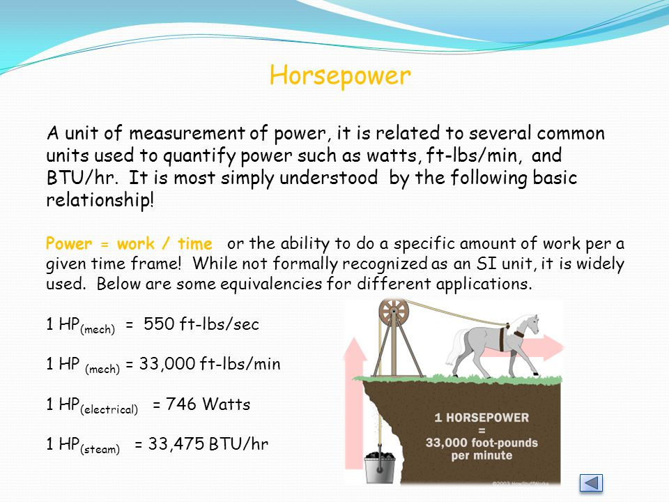 Horsepower A unit of measurement of power, it is related to several common units used to quantify power such as watts, ft-lbs/min, and BTU/hr.