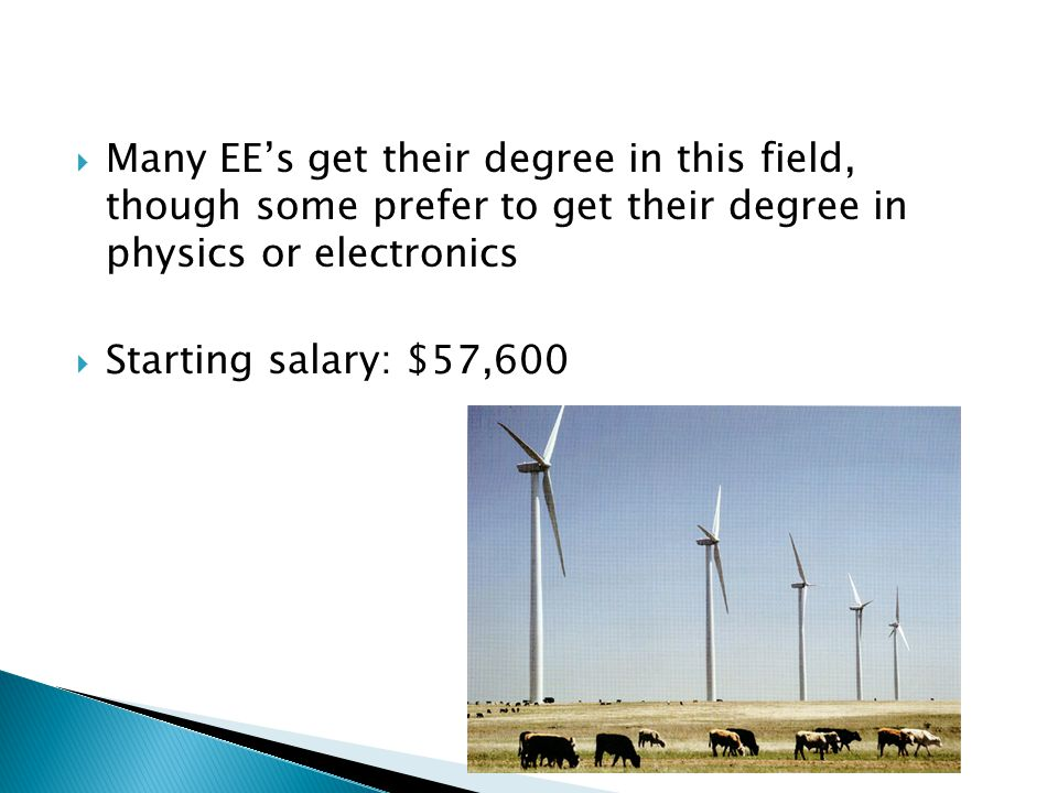  Many EE's get their degree in this field, though some prefer to get their degree in physics or electronics  Starting salary: $57,600
