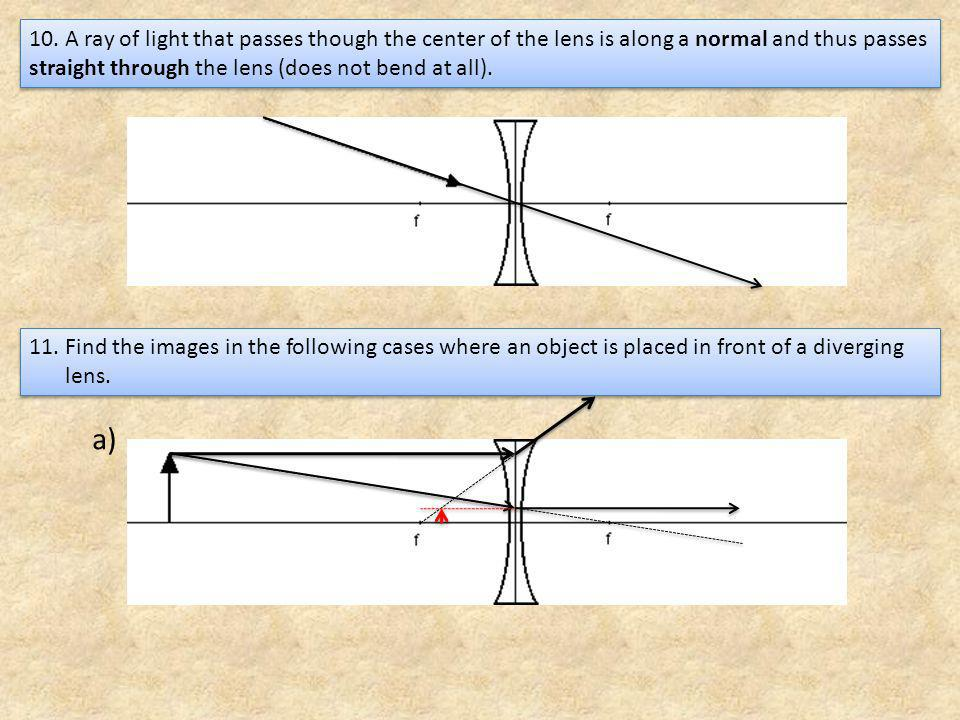11.Find the images in the following cases where an object is placed in front of a diverging lens.
