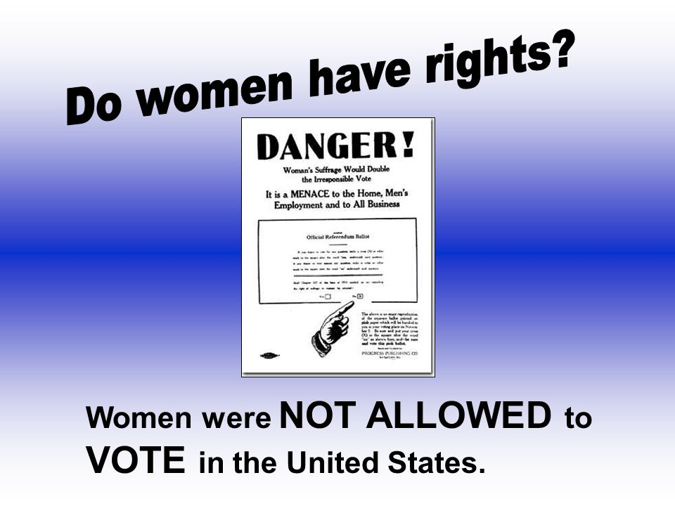 Women were NOT ALLOWED to VOTE in the United States.