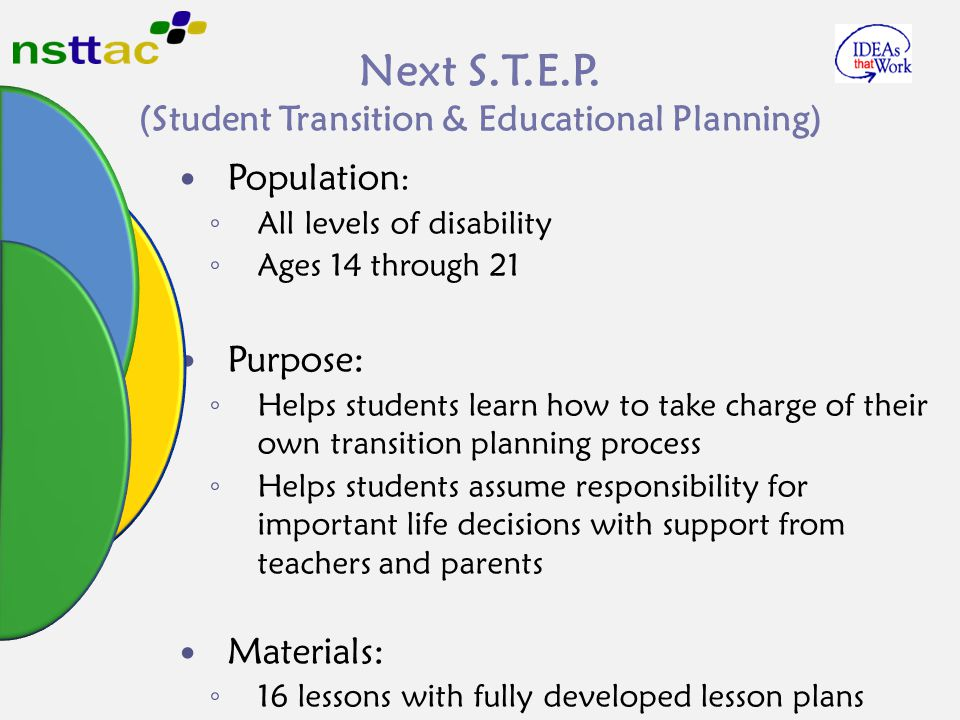 Next S.T.E.P. (Student Transition & Educational Planning) Population : ◦ All levels of disability ◦ Ages 14 through 21 Purpose: ◦ Helps students learn