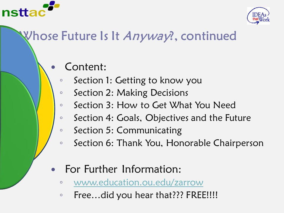 Whose Future Is It Anyway , continued Content: ◦ Section 1: Getting to know you ◦ Section 2: Making Decisions ◦ Section 3: How to Get What You Need ◦ Section 4: Goals, Objectives and the Future ◦ Section 5: Communicating ◦ Section 6: Thank You, Honorable Chairperson For Further Information: ◦ www.education.ou.edu/zarrow www.education.ou.edu/zarrow ◦ Free…did you hear that .