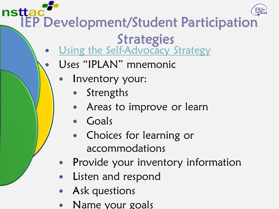 IEP Development/Student Participation Strategies Using the Self-Advocacy Strategy Uses IPLAN mnemonic Inventory your: Strengths Areas to improve or learn Goals Choices for learning or accommodations Provide your inventory information Listen and respond Ask questions Name your goals