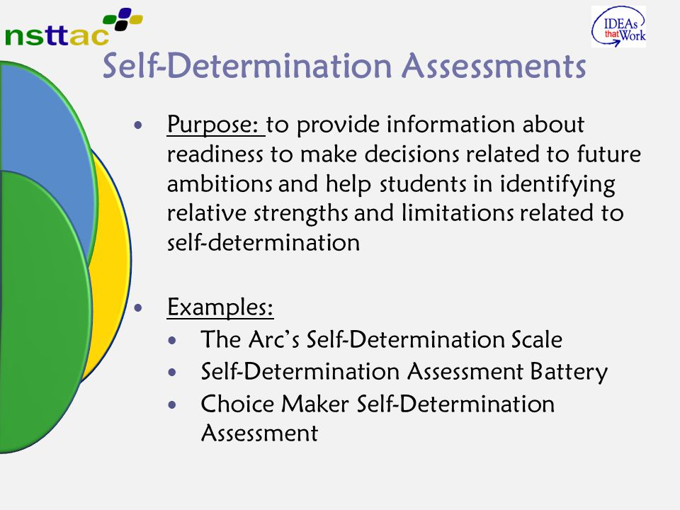 Self-Determination Assessments Purpose: to provide information about readiness to make decisions related to future ambitions and help students in identifying relative strengths and limitations related to self-determination Examples: The Arc's Self-Determination Scale Self-Determination Assessment Battery Choice Maker Self-Determination Assessment