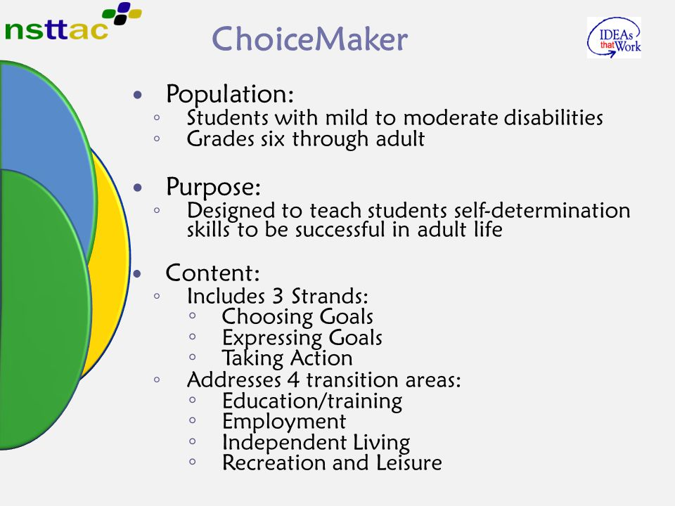 ChoiceMaker Population: ◦ Students with mild to moderate disabilities ◦ Grades six through adult Purpose: ◦ Designed to teach students self-determinat