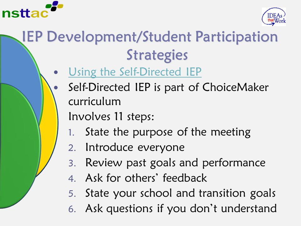 IEP Development/Student Participation Strategies Using the Self-Directed IEP Self-Directed IEP is part of ChoiceMaker curriculum Involves 11 steps: 1.