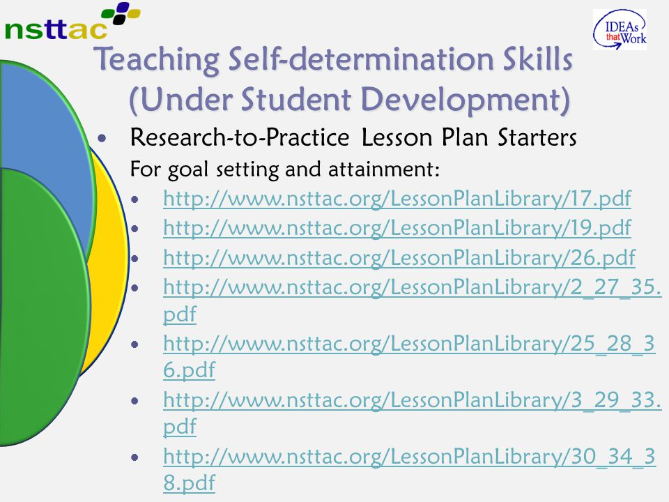 Teaching Self-determination Skills (Under Student Development) Research-to-Practice Lesson Plan Starters For goal setting and attainment: http://www.n