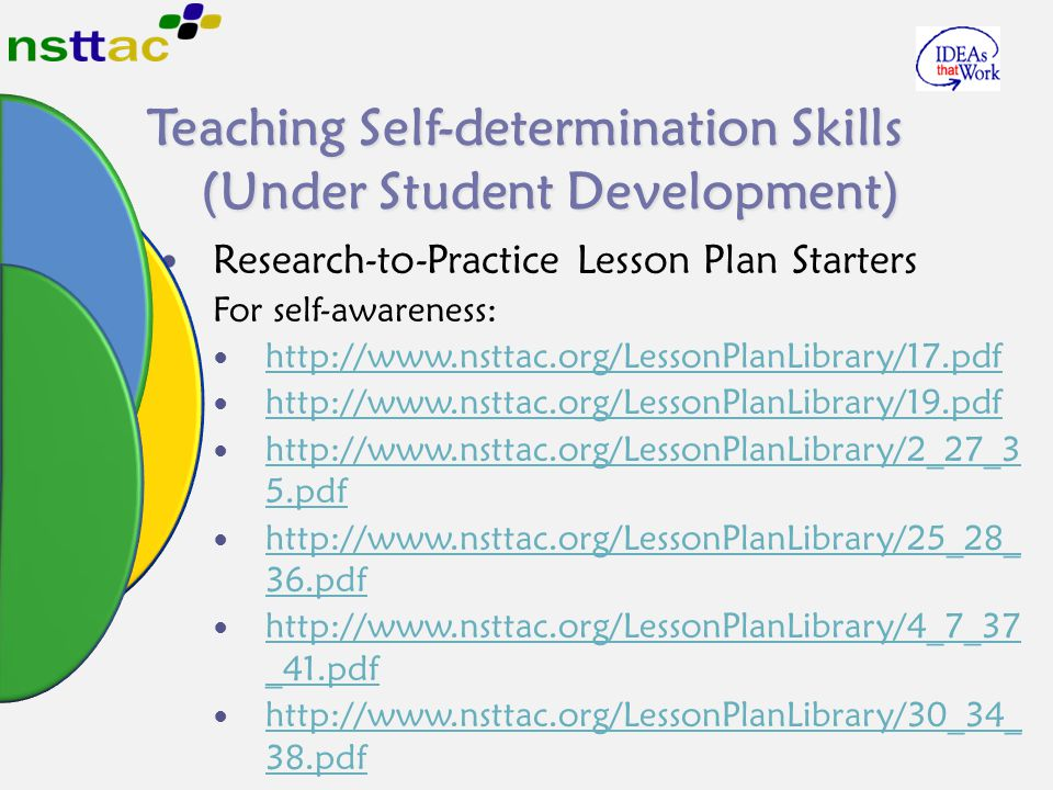 Teaching Self-determination Skills (Under Student Development) Research-to-Practice Lesson Plan Starters For self-awareness: http://www.nsttac.org/Les