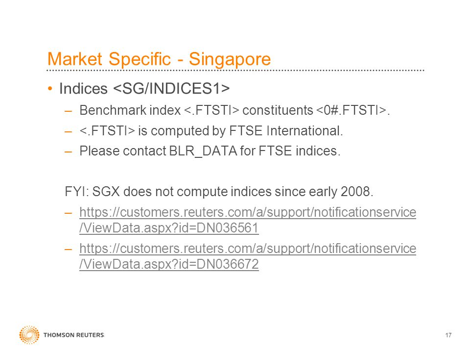 17 Market Specific - Singapore Indices –Benchmark index constituents.