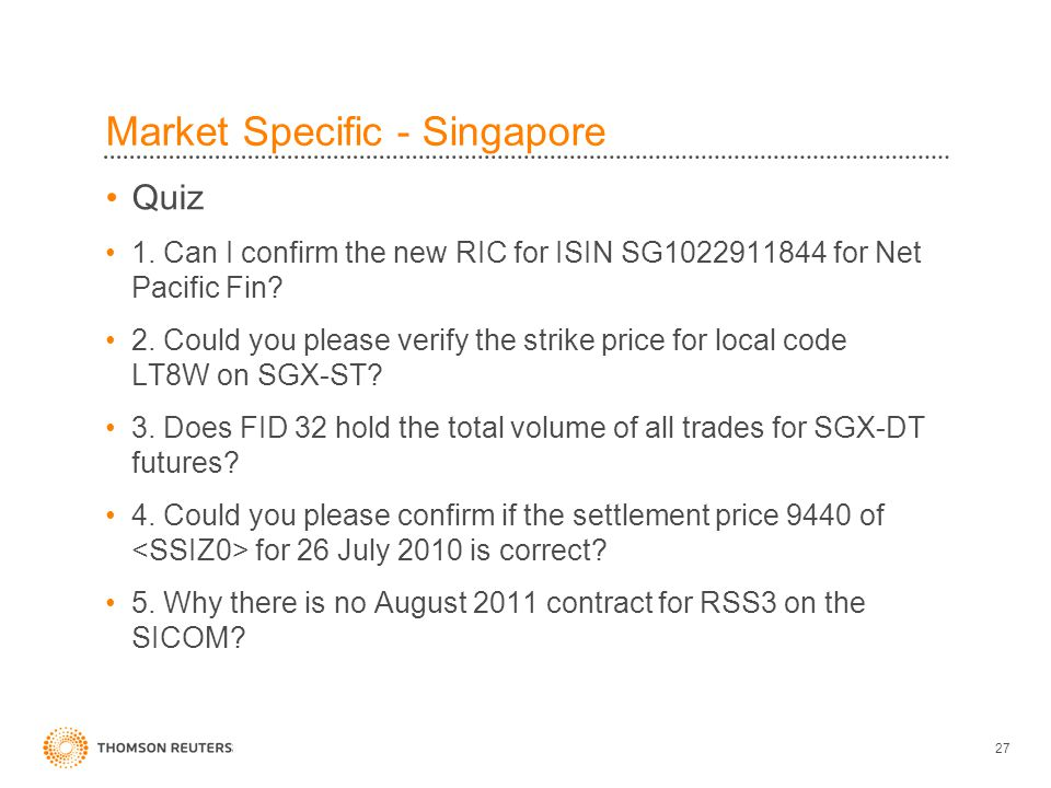 27 Market Specific - Singapore Quiz 1.