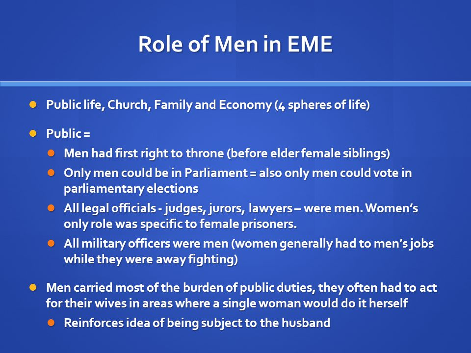 Role of Men in EME cont..