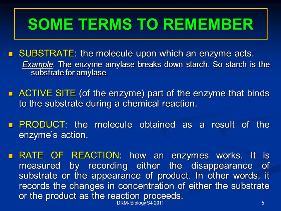 5 SOME TERMS TO REMEMBER SUBSTRATE: the molecule upon which an enzyme acts.