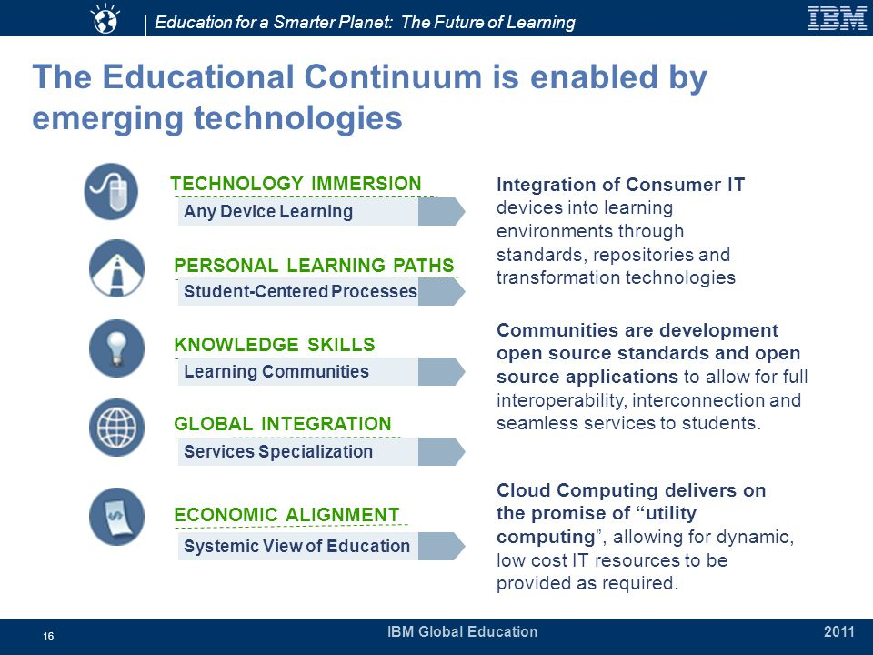 Education for a Smarter Planet: The Future of Learning IBM Global Education 2011 16 The Educational Continuum is enabled by emerging technologies Integration of Consumer IT devices into learning environments through standards, repositories and transformation technologies TECHNOLOGY IMMERSION PERSONAL LEARNING PATHS KNOWLEDGE SKILLS Communities are development open source standards and open source applications to allow for full interoperability, interconnection and seamless services to students.