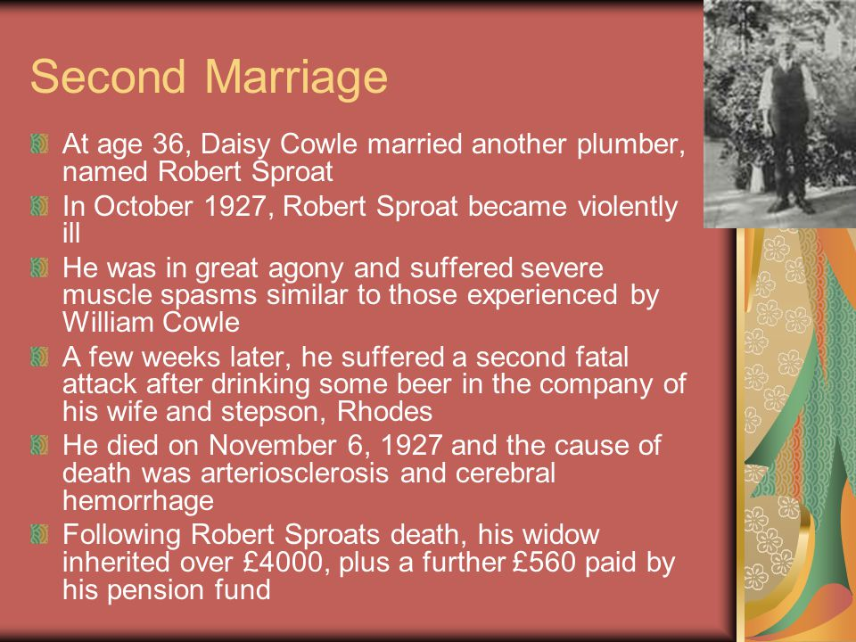 Third Marriage On January 21, 1931 she married widower and plumber Sydney Clarence De Melker She never had the chance to get to know him or worse murder him due to suspicion on the deaths of her previous husbands
