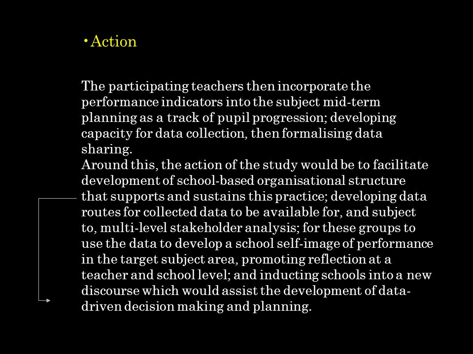 Action The participating teachers then incorporate the performance indicators into the subject mid-term planning as a track of pupil progression; developing capacity for data collection, then formalising data sharing.