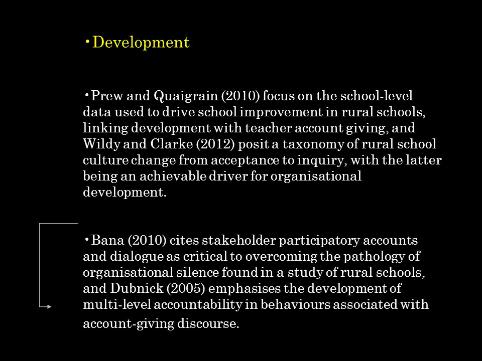 Development Prew and Quaigrain (2010) focus on the school-level data used to drive school improvement in rural schools, linking development with teacher account giving, and Wildy and Clarke (2012) posit a taxonomy of rural school culture change from acceptance to inquiry, with the latter being an achievable driver for organisational development.