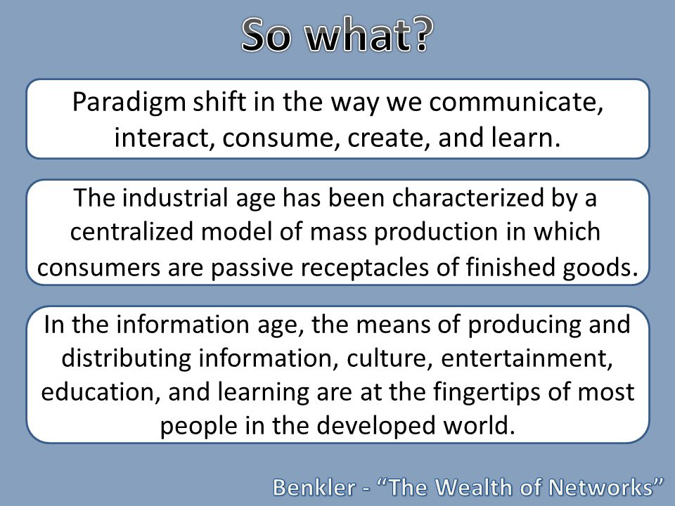 Paradigm shift in the way we communicate, interact, consume, create, and learn.