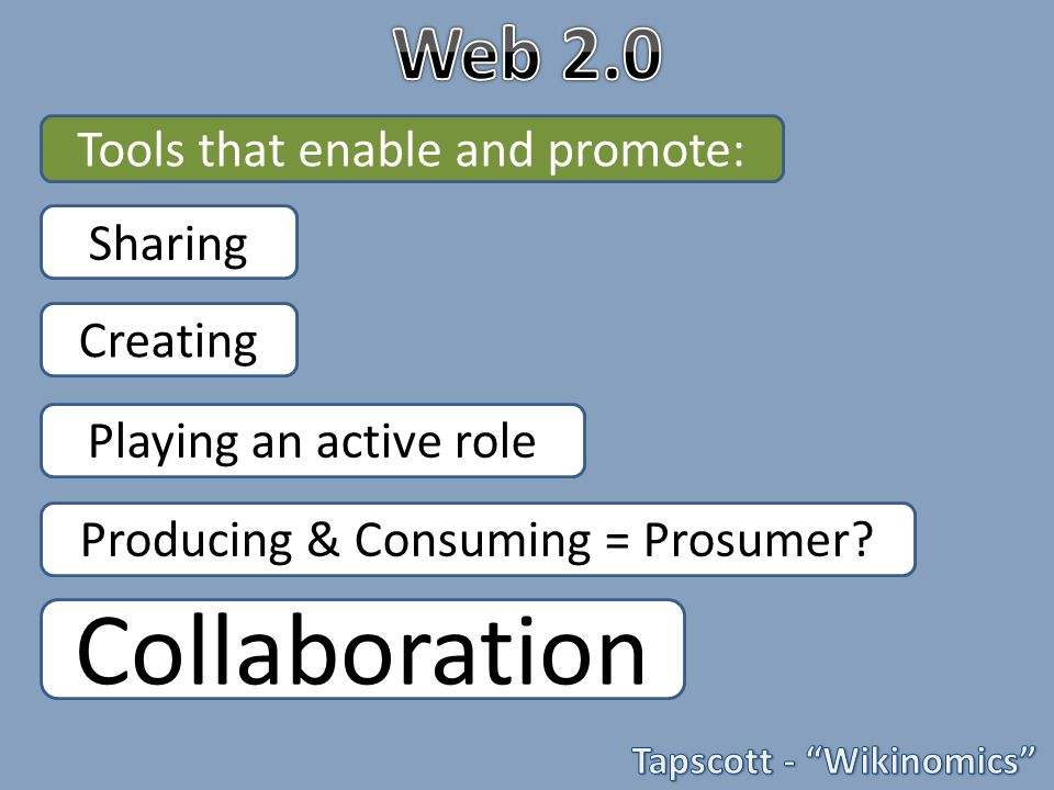 Sharing Creating Producing & Consuming = Prosumer.