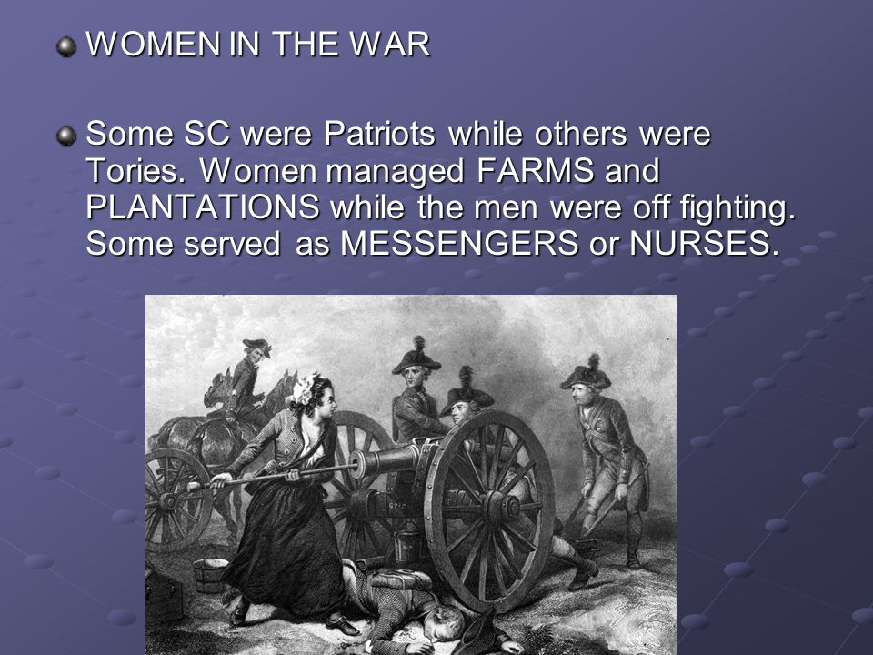 AFRICAN-AMERICANS IN THE WAR Most African-Americans continued to work as SLAVES in SC In some states African-Americans served in the CONTINENTAL ARMY but SC did not allow slaves to serve as soldiers because of a fear of SLAVE REBELLIONS.