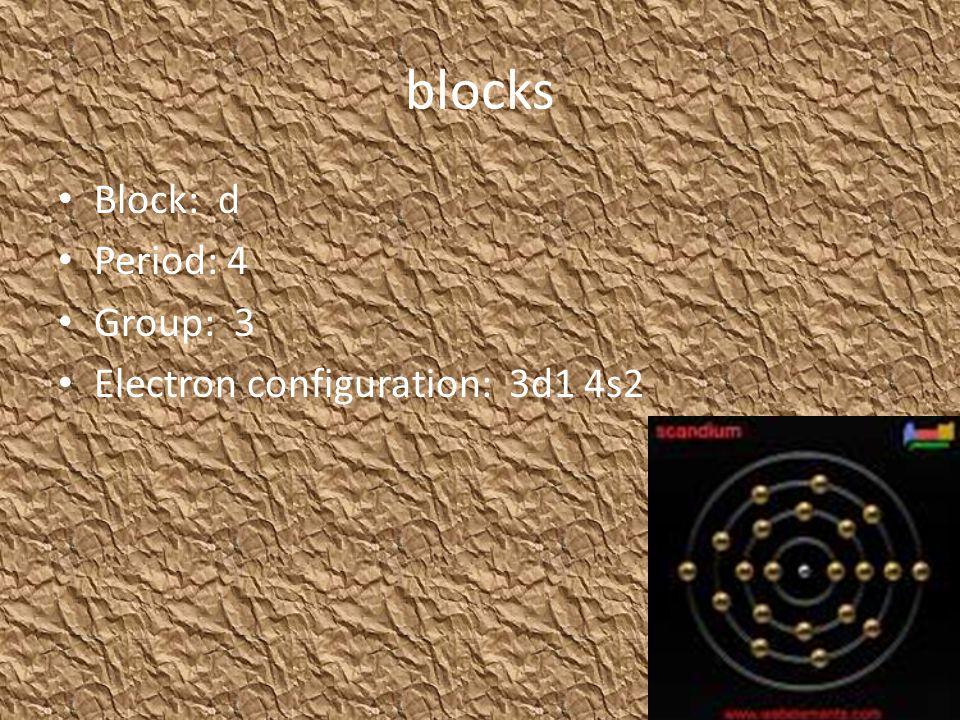 blocks Block: d Period: 4 Group: 3 Electron configuration: 3d1 4s2