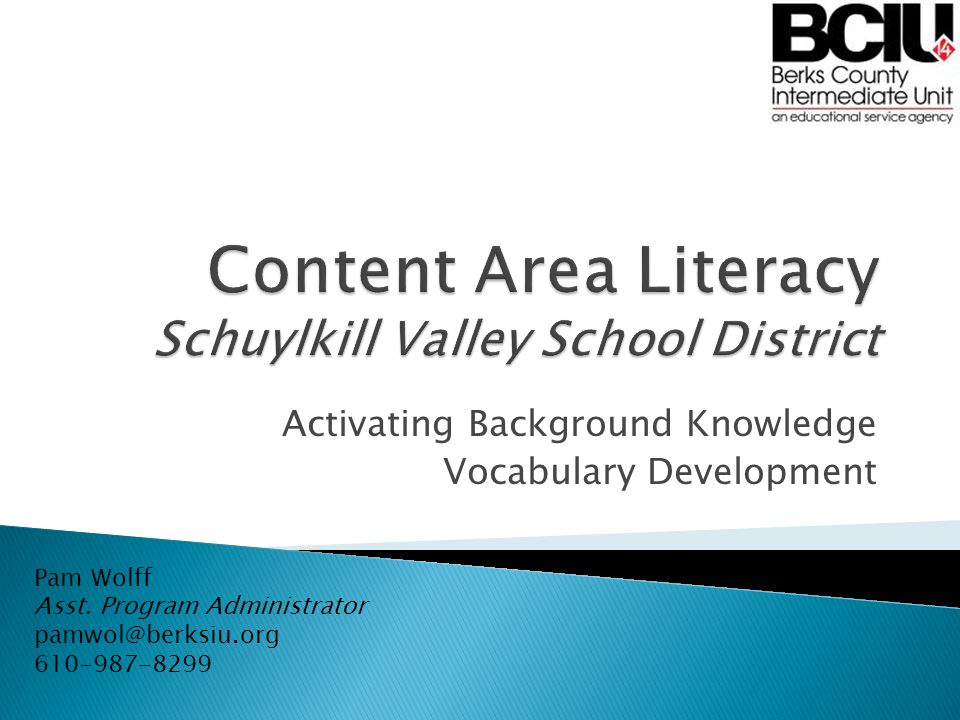 Activating Background Knowledge Vocabulary Development Pam Wolff Asst.