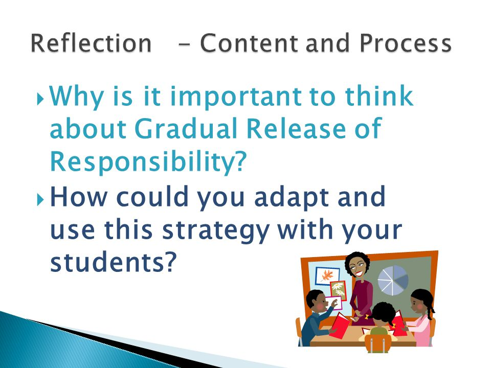  Why is it important to think about Gradual Release of Responsibility.