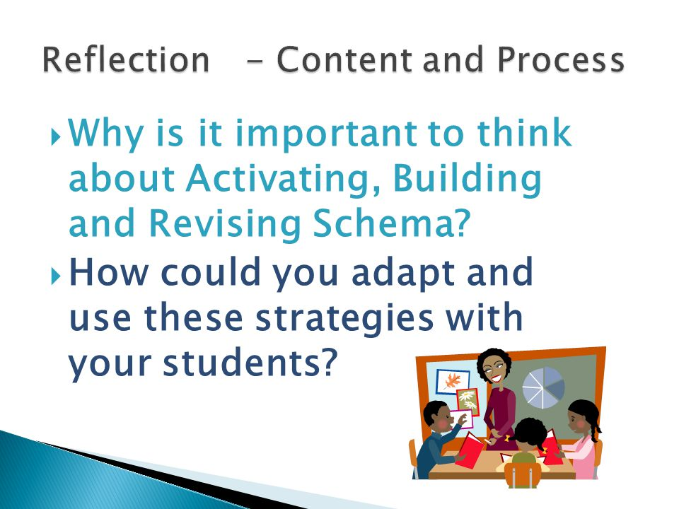  Why is it important to think about Activating, Building and Revising Schema?  How could you adapt and use these strategies with your students?