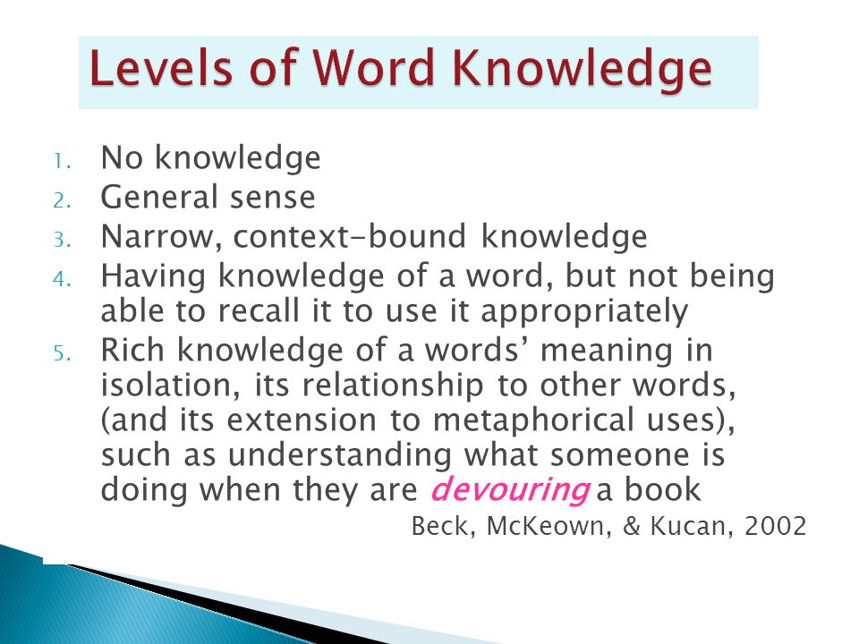 1. No knowledge 2. General sense 3. Narrow, context-bound knowledge 4. Having knowledge of a word, but not being able to recall it to use it appropria