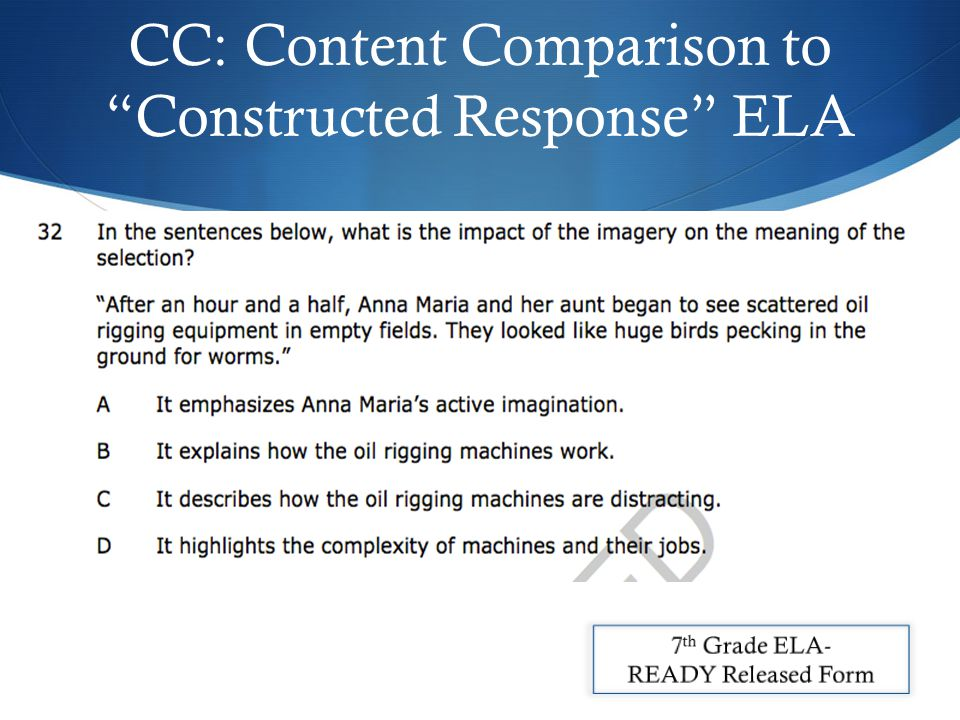 CC: Content Comparison to Constructed Response ELA
